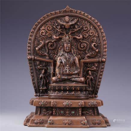CHINESE GEM STONE INLAID BRONZE SEATED BUDDHA