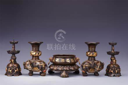 FIVE CHINESE GOLD BRONZE RITAL VESSELS CENSER ELEPHANT VASE AND CANDLE HOLDER