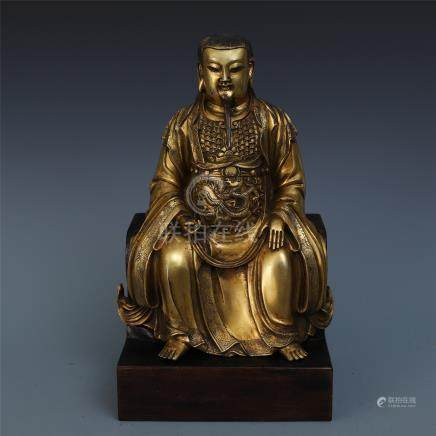 CHINESE GILT BRONZE SEATED GOD OF WEALTH