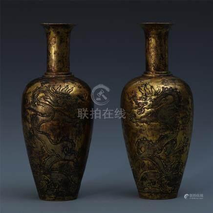 PAIR OF CHINESE GILT BRONZE DRAGON VASES