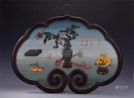 CHINESE GEM STONE INLAID LACQUER HARDWOOD ZITAN CLOUD SHAPED WALL SCREEN QING DYNASTY