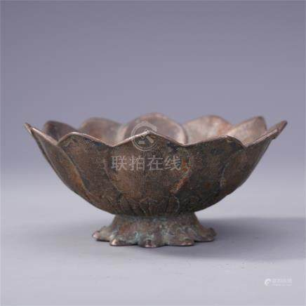 CHINESE PURE SILVER LOTUS SHAPED BOWL