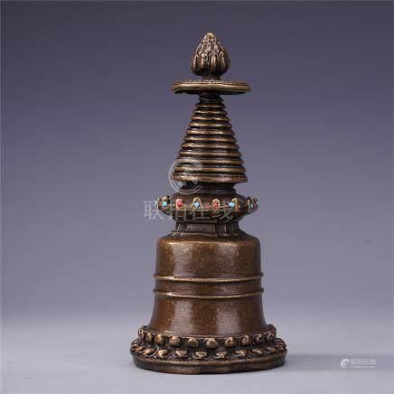 TIBETAN GEM STONE INLAID BRONZE BUDDHIST TOWER