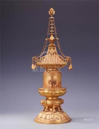 CHINESE GILT BRONZE BUDDHIST NICHE TOWER