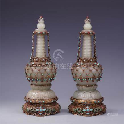 PAIR OF CHIENSE GEM STONE INLAID GILT SILVER ENAMEL JADE BUDDHIST TOWER