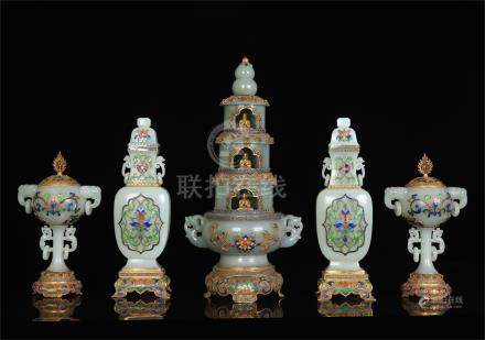 FIVE CHINESE GEM STONE INLAID GILT SILVER ENAMEL CELADON JADE RITAL VESSELS