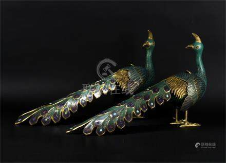 PAIR OF CHINESE CLOISONNE PEACOCK INCENSE CAGES