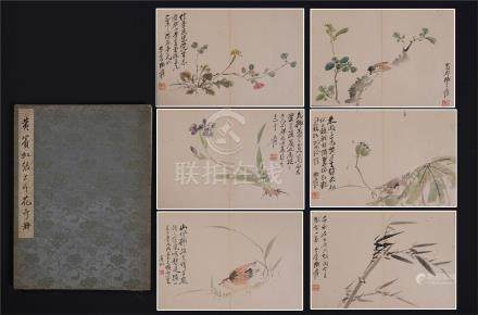 FOURTEEN PAGES OF CHINESE ALBUM PAINTING OF BIRD AND FLOWER