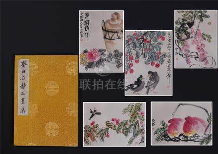 ELEVEEN PAGES OF CHINESE ALBUM PAINTING OF INSECT AND FLOWER