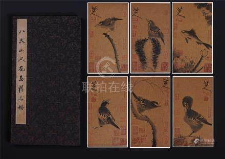 SIX PAGES OF CHINESE ALBUM PAINTING OF BIRD