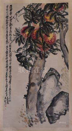 CHINESE SCROLL PAINTING OF PEACH TREE AND ROCK