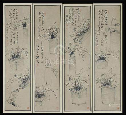 FOUR PANELS OF CHINESE SCROLL PAINTING OF ORCHID IN BASIN
