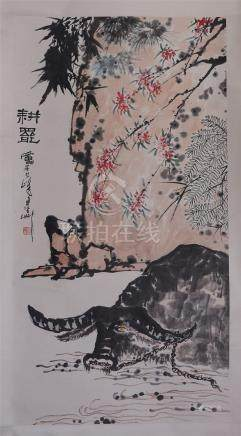 CHINESE SCROLL PAINTING OF OX BEFORE ROCK