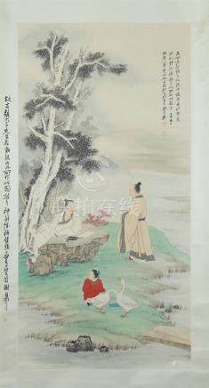 CHINESE SCROLL PAINTING OF MEN UNDER TREE
