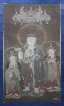 CHINESE SCROLL PAINTING OF THREE STANDING BUDDHA