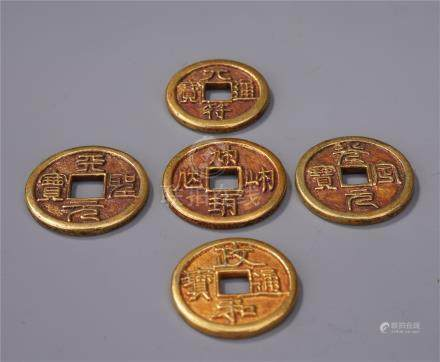 FIVE CHINESE GOLD COINS
