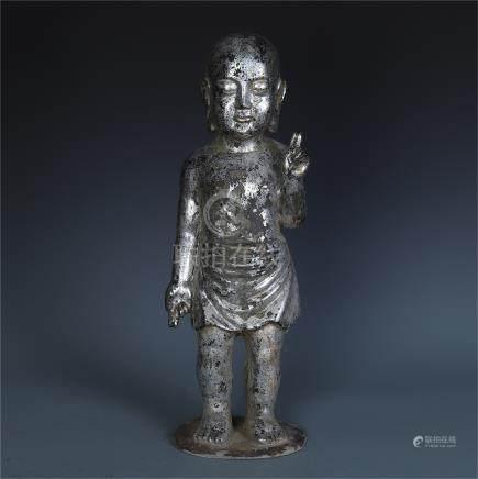 CHINESE BRONZE STANDING BUDDHA MING DYNASTY
