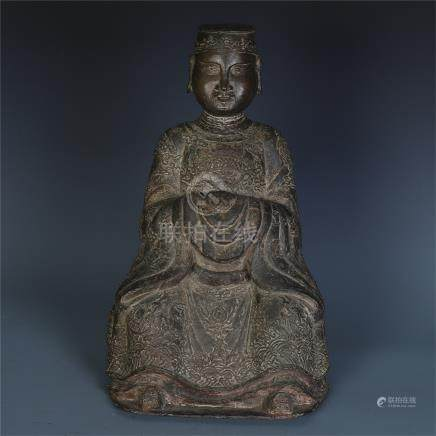 CHINESE BRONZE SEATED GOD OF WEALTH