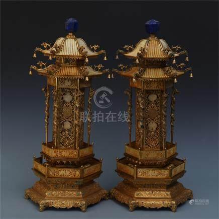 PAIR OF CHINESE GILT BRONZE JADE LAPIS INLAID PAVILION INCENSE CAGES