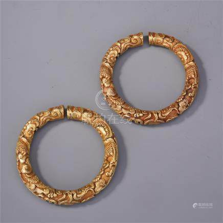 PAIR OF CHINESE GILT SILVER DRAGON CLOUD BANGLES