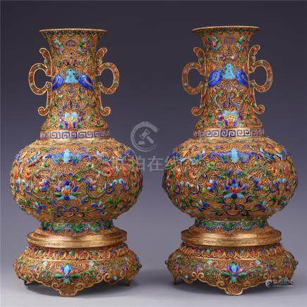 CHINESE GEM STONE INLAID GILT SILVER ENAMEL TIANQIU VASES ON BASE