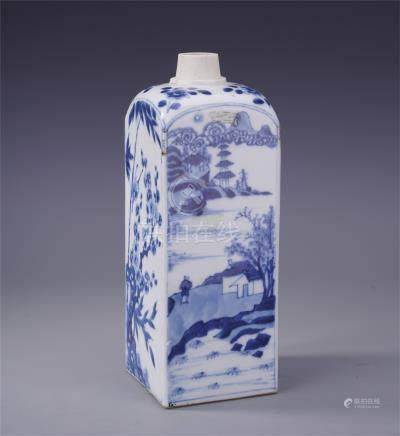 CHINESE PORCELAIN BLUE AND WHITE MOUNTAIN VIEWS SQUARE VASE