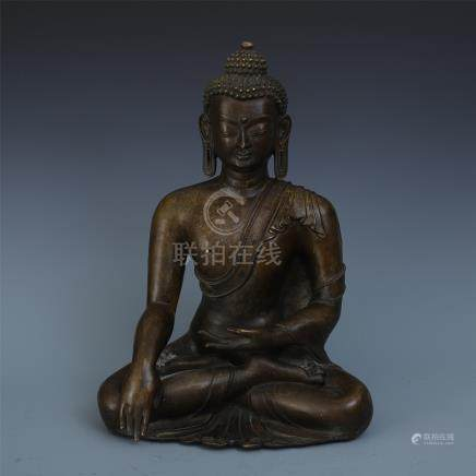 CHINESE BRONZE SEATED SAYKAMUNI