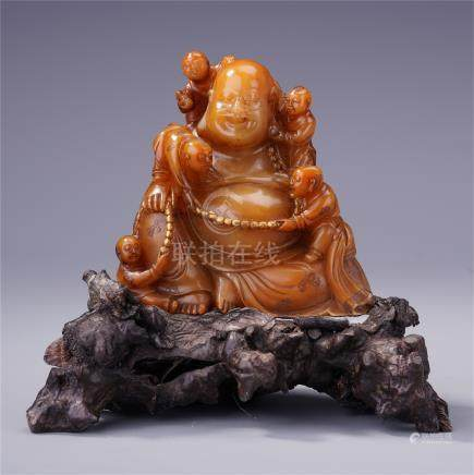 CHINESE TIANHUANG STONE BUDDHA WITH BOYS TABLE ITEM