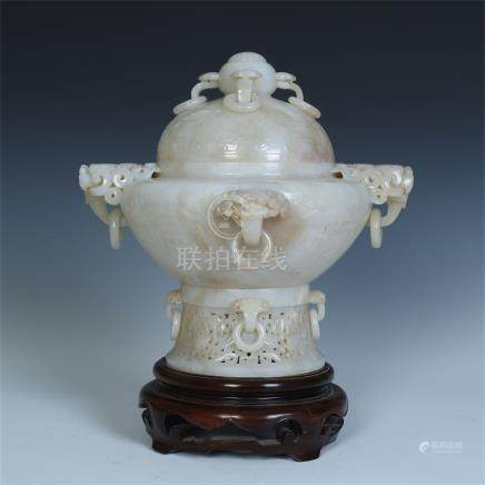 CHINESE WHITE JADE DRAGON HEAD LOOPED HANDLE LIDDED CENSER