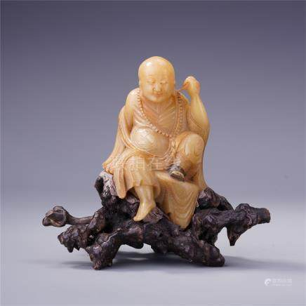 CHINESE SOAPSTONE SEATED LOHAN TABLE ITEM