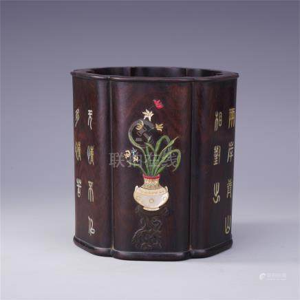 CHINESE GEM STONE INLAID HARDWOOD ZITAN FLOWER SHAPED BRUSH POT