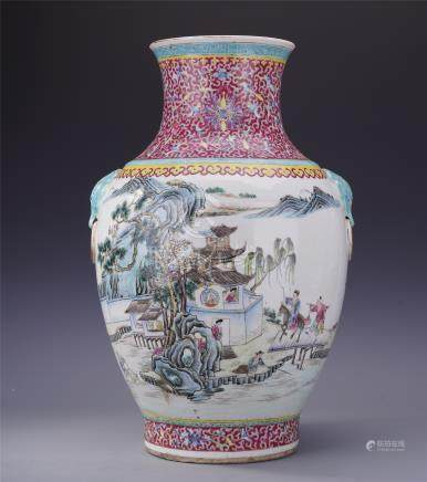 CHINESE PORCELAIN FAMILLE ROSE FIGURES MOUNTAIN VIEWS ZUN VASE