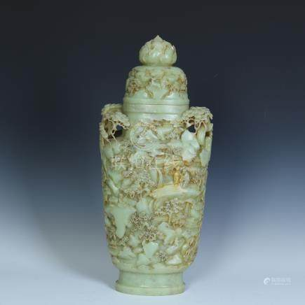 CHINESE YELLOW JADE FIGURES LIDDED VASE