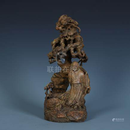 CHINESE AGALWOOD CARVED MEN UNDER PINE SCHOLAR'S TABLE ITEM