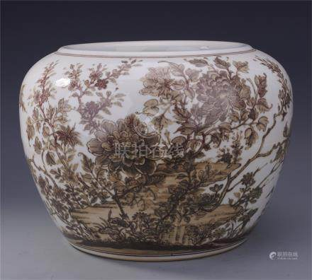 CHINESE PORCELAIN INK PAINTED FLOWER WATER JAR