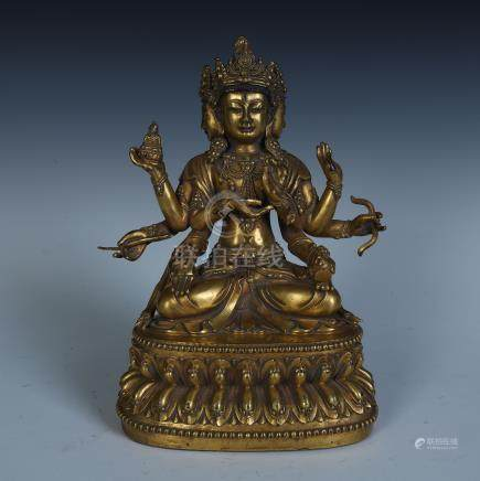 CHINESE GILT BRONZE SEATED SIX ARM GUANYIN