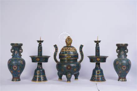 FIVE CHINESE CLOISONNE ALTAR RITAL VESSEL VASE CANDLE HOLDER CENSER