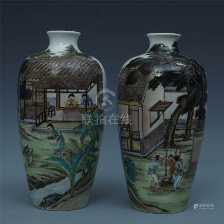 PAIR OF CHINESE PORCELAIN FAMILLE ROSE FIGURES VASES