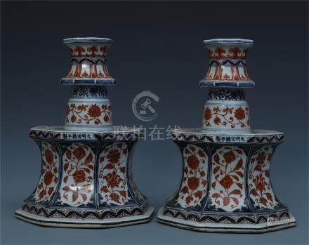 PAIR OF CHINESE PORCELAIN BLUE AND WHITE RED UNDER GLAZE CANDLE HOLDERS