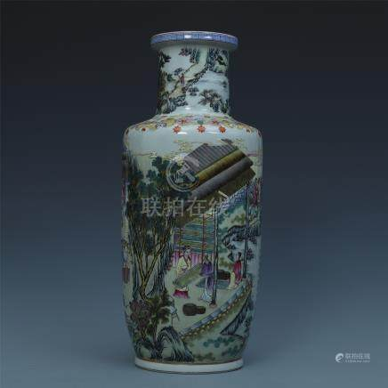 CHINESE PORCELAIN FAMILLE ROSE FIGURES VASE