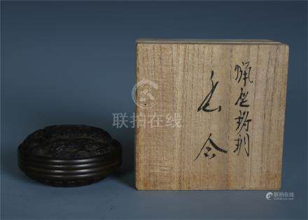 CHINESE BRONZE DRAGON CLOUD ROUND BOX