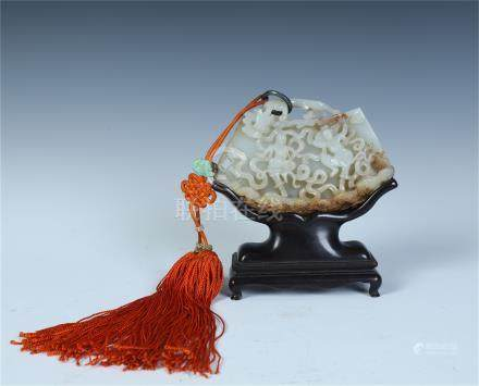 CHINESE WHITE JADE FLYING BEAUTY PLAQUE ROSEWOOD TABLE SCREEN