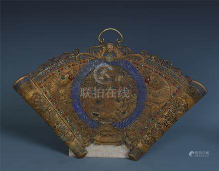 CHINESE GEM STONE INLAID GILT BRONZE FAN SHAPED WALL SCREEN