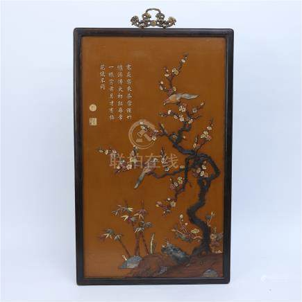 CHINESE GEM STONE INLAID LACQUER HARDWOOD HONGMU WALL SCREEN