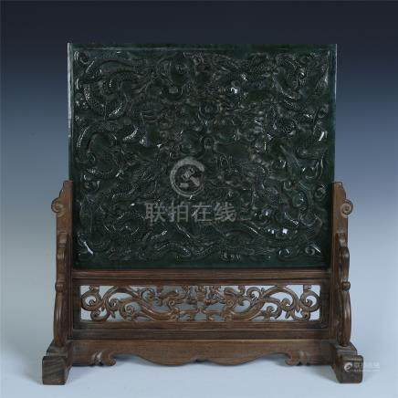 CHINESE SPINACH JADE PLAQUE INLAID HUAGHUALI TABLE SCREEN
