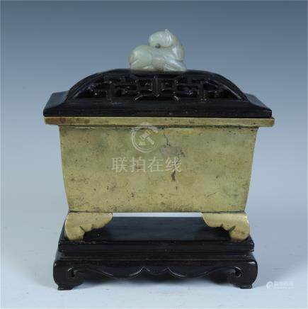 CHINESE BRONZE SQUARE CENER WITH JADE HORSE KNOT ROSEWOOD LID AND BASE