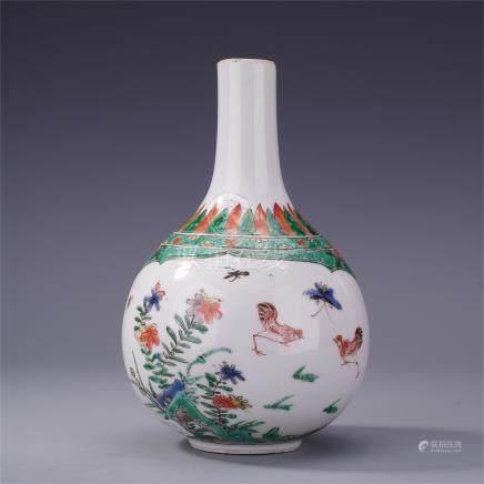CHINESE PORCELAIN WUCAI FLOWER VASE