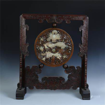 CHINESE HARDWOOD HUANGHUALI DRAGON ROUND PLAQUE ZITAN TABLE SCREEN