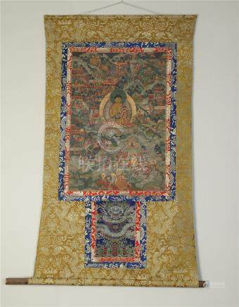 TIBETAN THANGKA OF SEATED BUDDHA QING DYNASTY