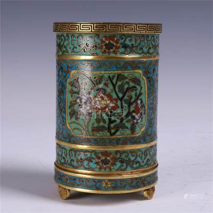 CHINESE CLOISONNE FLOWER BRUSH POT QING DYNASTY